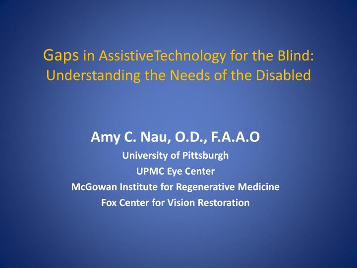 gaps in assistivetechnology for the blind understanding the needs of the disabled n.