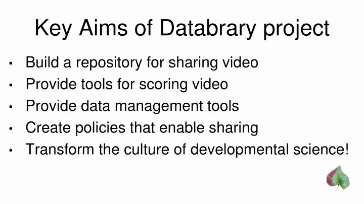 Key aims of databrary project
