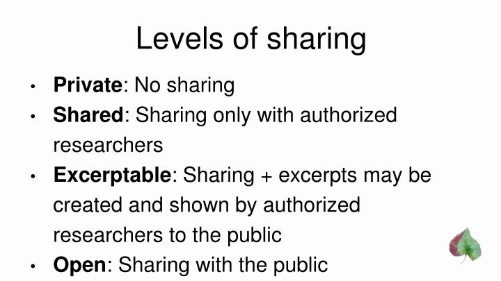 Levels of sharing