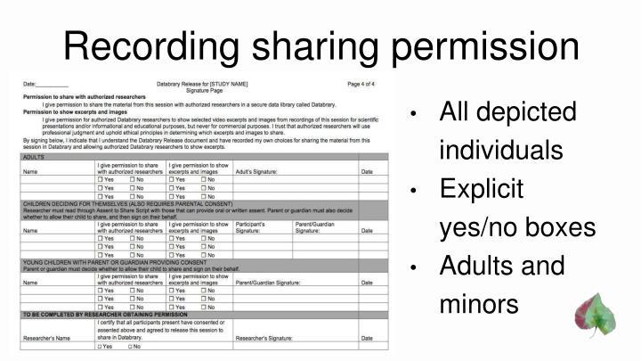 Recording sharing permission