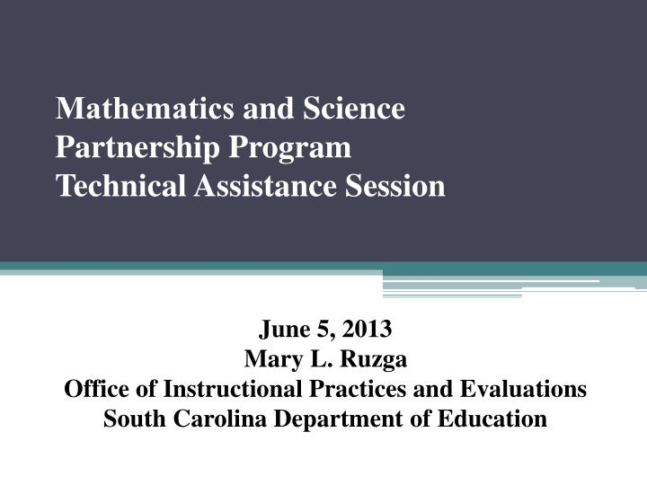 mathematics and science partnership program technical assistance session n.