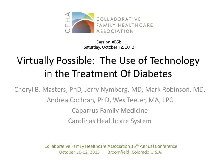 virtually possible the use of technology in the treatment of diabetes n.