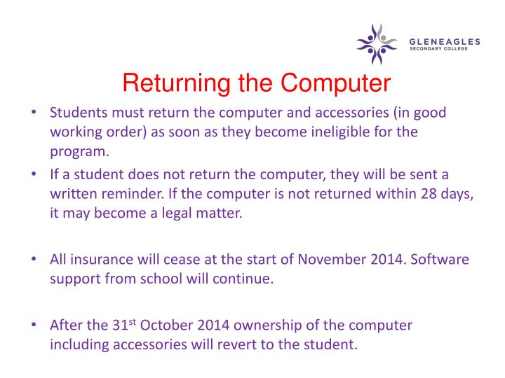 Returning the Computer