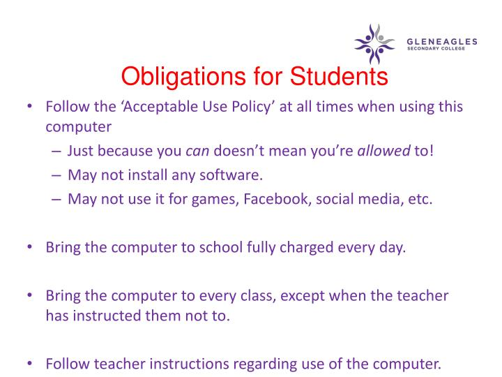 Obligations for Students
