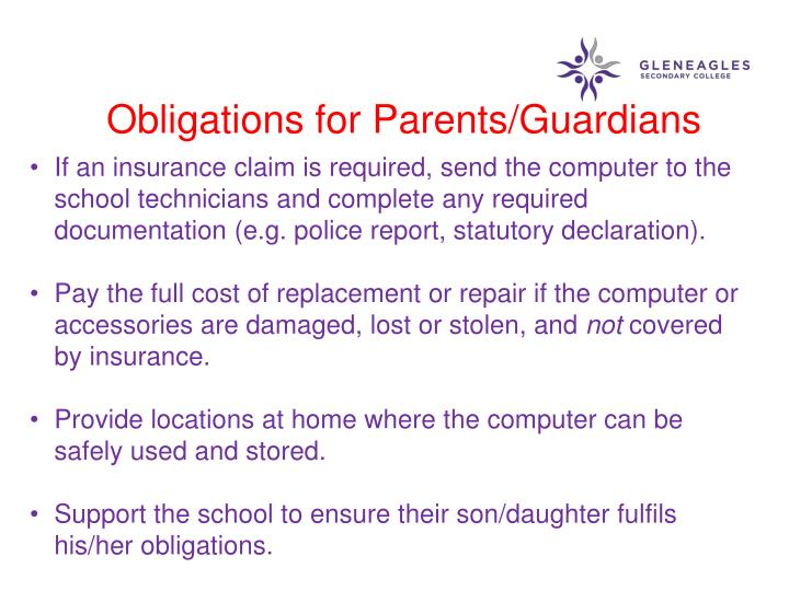 Obligations for Parents/Guardians