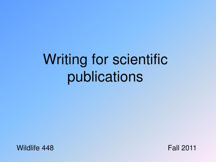 writing for scientific publications n.