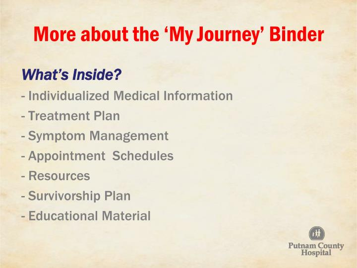More about the 'My Journey' Binder