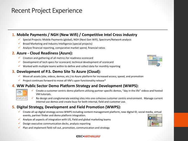 Recent Project Experience