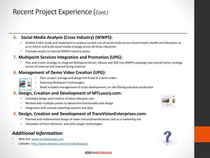 Recent Project Experience (