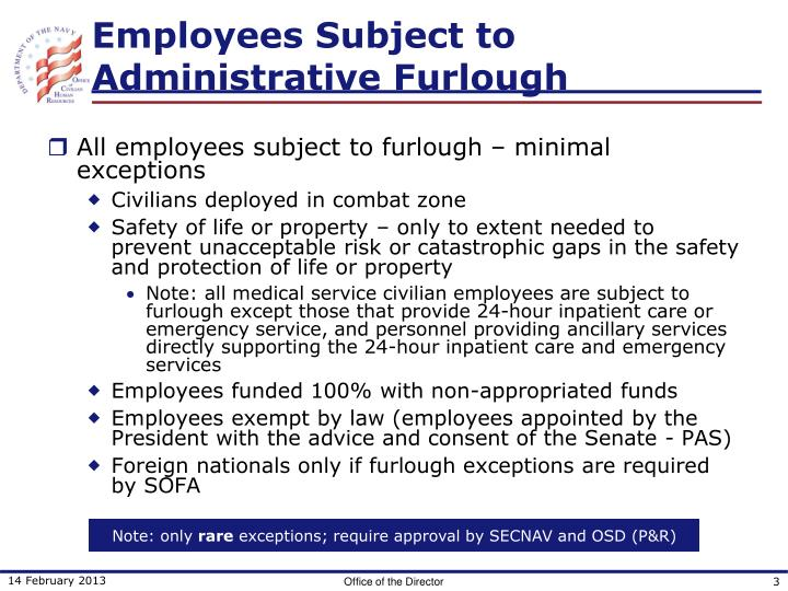 Employees subject to administrative furlough