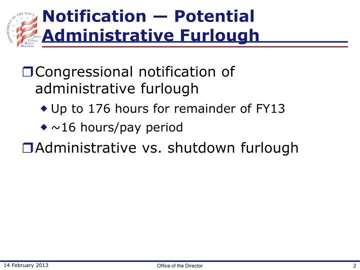 Notification potential administrative furlough