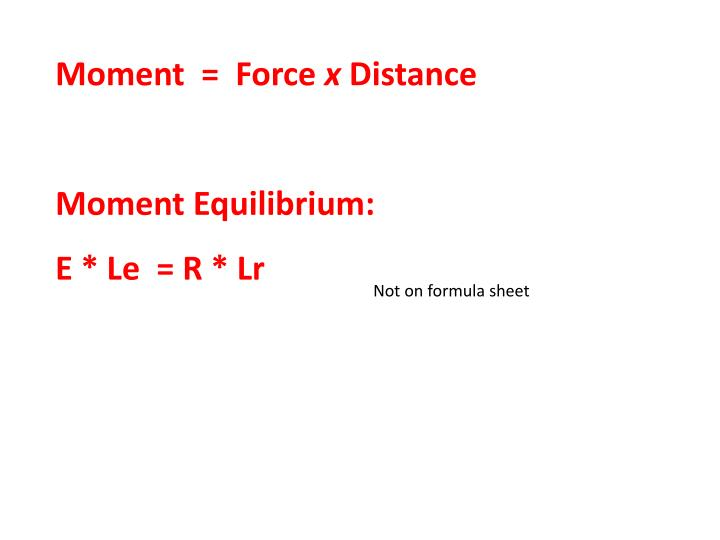 Moment  =  Force