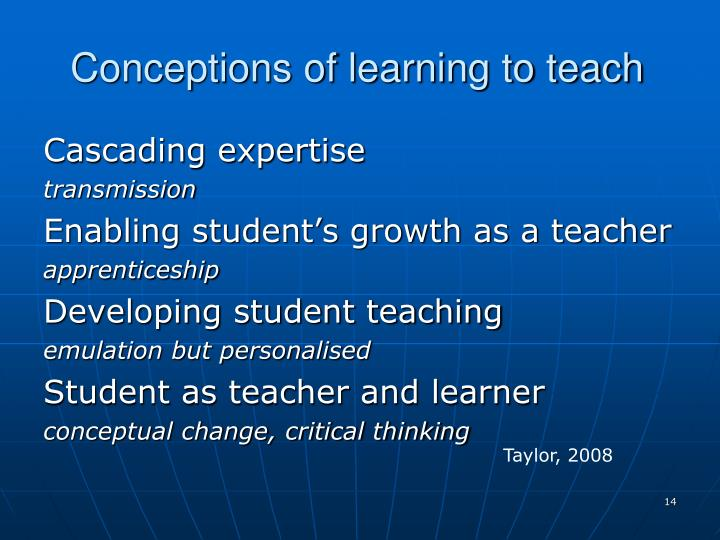 Conceptions of learning to teach