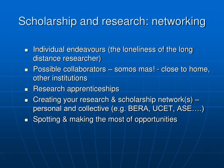 Scholarship and research: networking