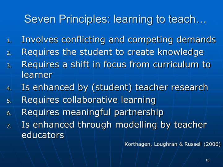 Seven Principles: learning to teach…