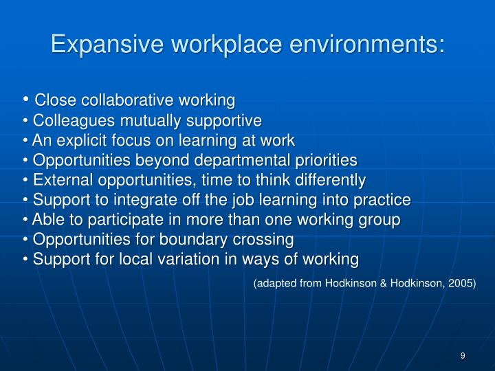Expansive workplace environments: