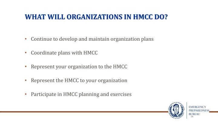 WHAT WILL ORGANIZATIONS IN HMCC do?