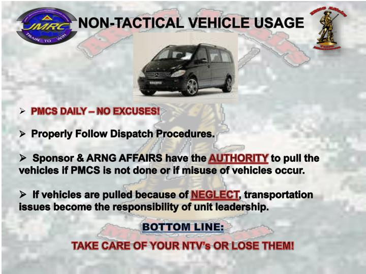 NON-TACTICAL VEHICLE USAGE