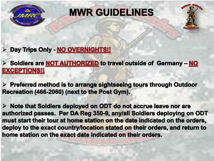 MWR GUIDELINES