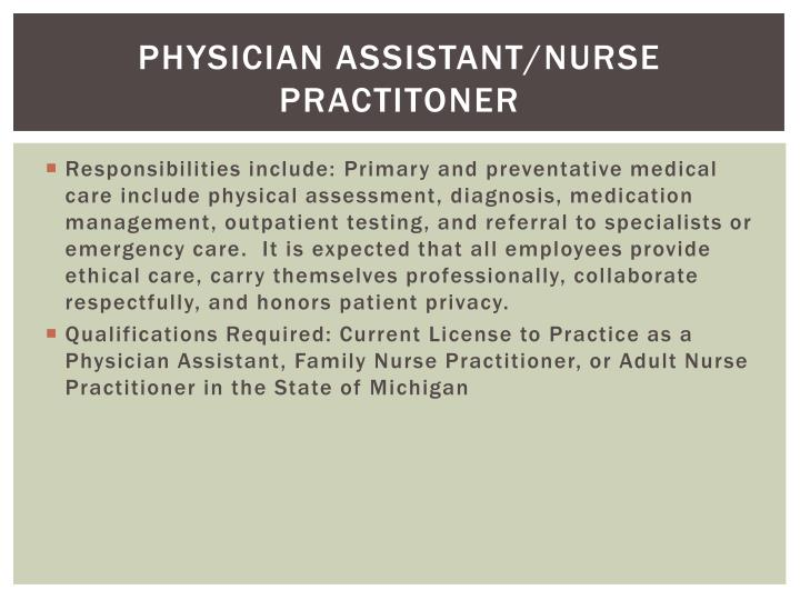 Physician Assistant/nurse