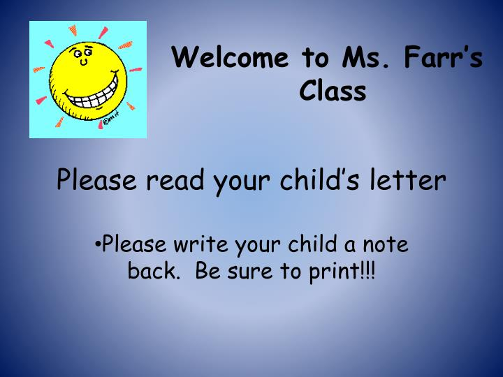 please write your child a note back be sure to print n.