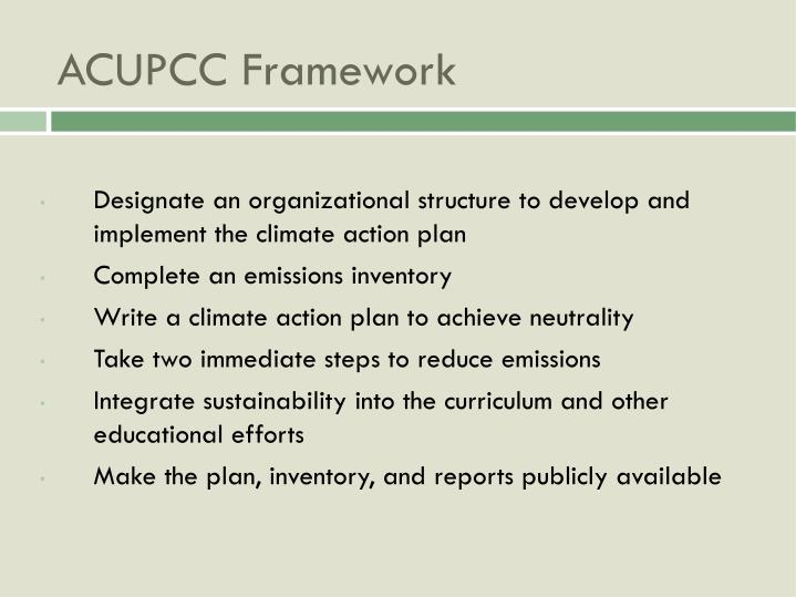 Designate an organizational structure to develop and implement the climate action plan