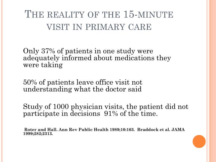 The reality of the 15-minute visit in primary care