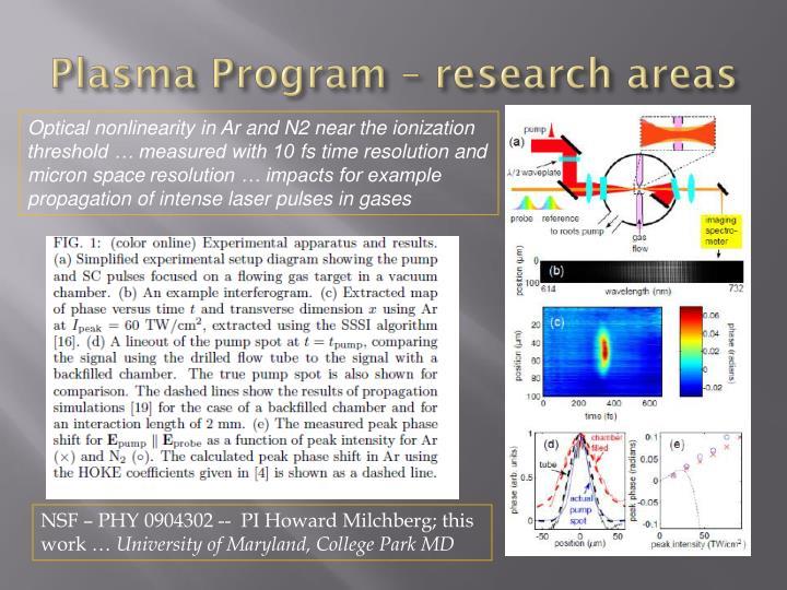 Plasma Program – research areas