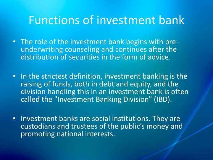 functions of an investment banker