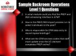 sample backroom operations level 1 questions