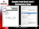 sample front desk level 1 competency exam