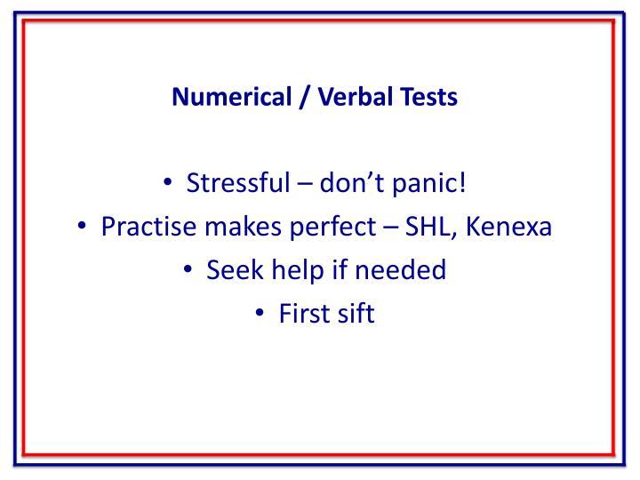 Numerical / Verbal Tests