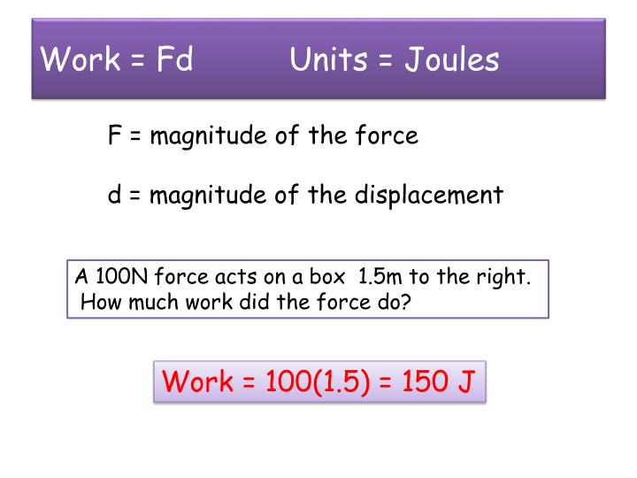 Work fd units joules