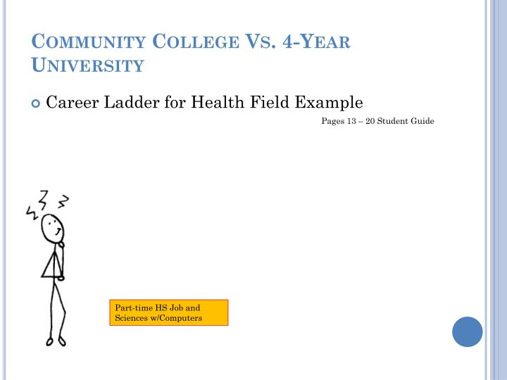 community college versus university It's a viable career path is not necessarily any easier than finding one at a four-year university and a community-college career is not.