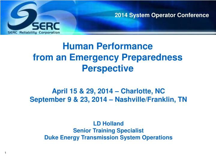 human performance from an emergency preparedness perspective n.