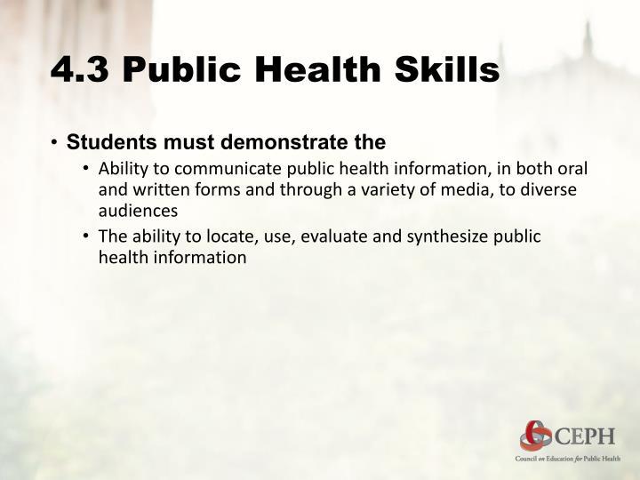 4.3 Public Health Skills