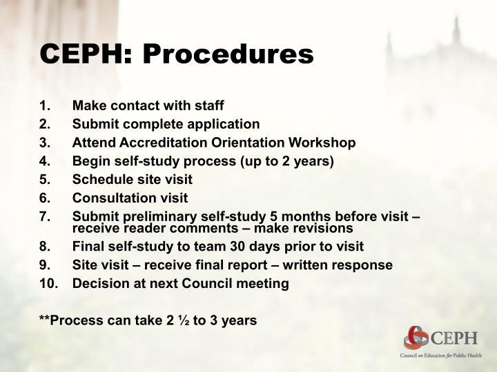 CEPH: Procedures