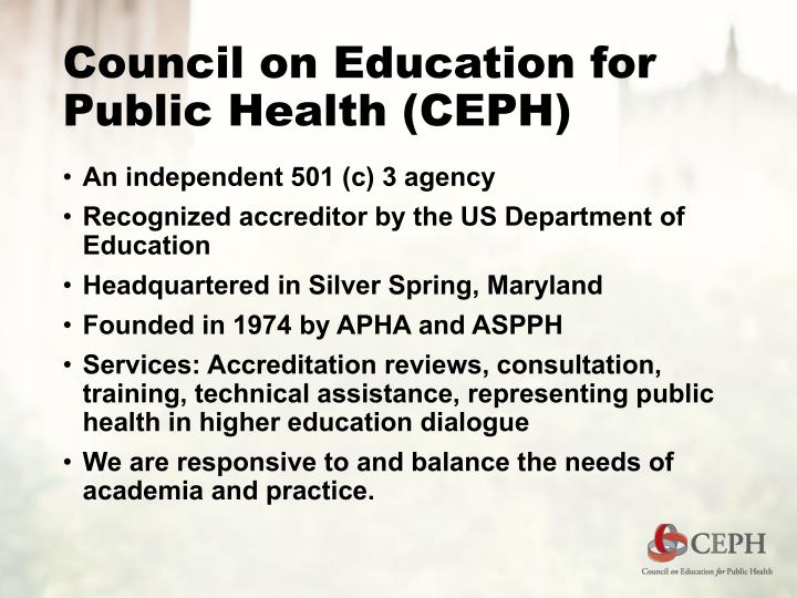Council on education for public health ceph