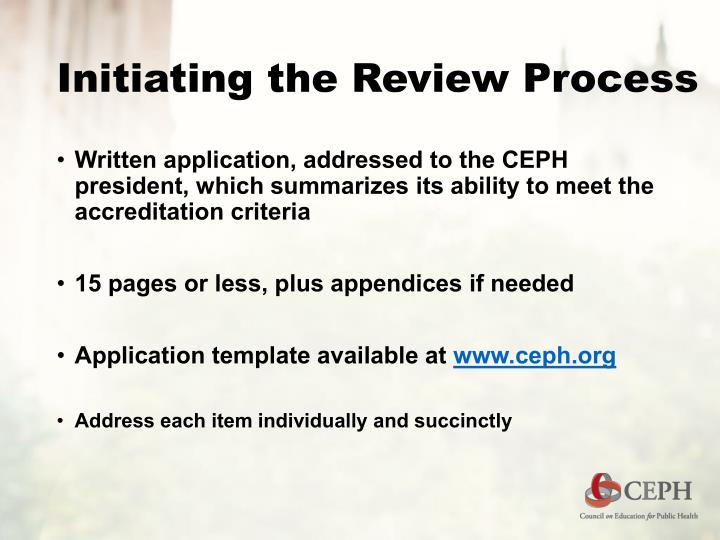 Initiating the Review Process