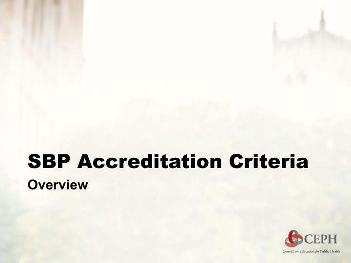 SBP Accreditation Criteria