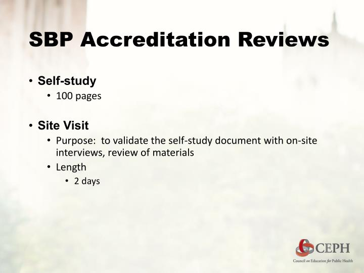 SBP Accreditation Reviews