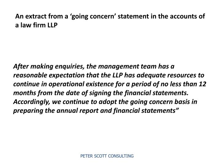 An extract from a 'going concern' statement in the accounts of a law firm LLP