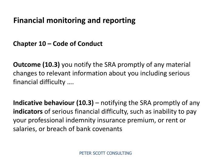 Financial monitoring and reporting