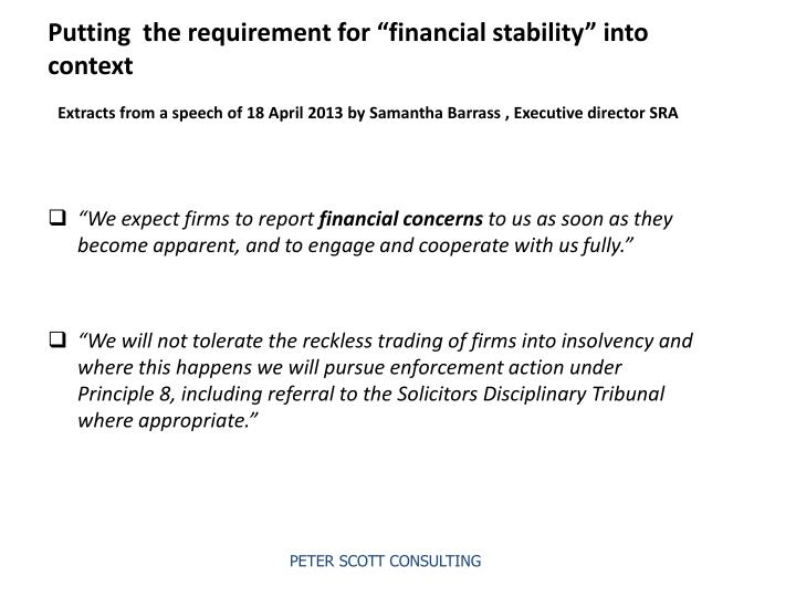 """Putting  the requirement for """"financial stability"""" into  context"""