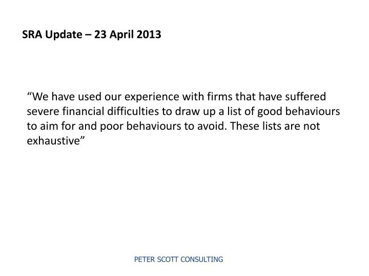 SRA Update – 23 April 2013