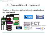 3 organizations 4 equipment