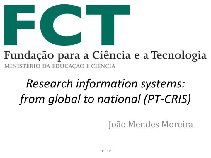 research information systems from global to national pt cris