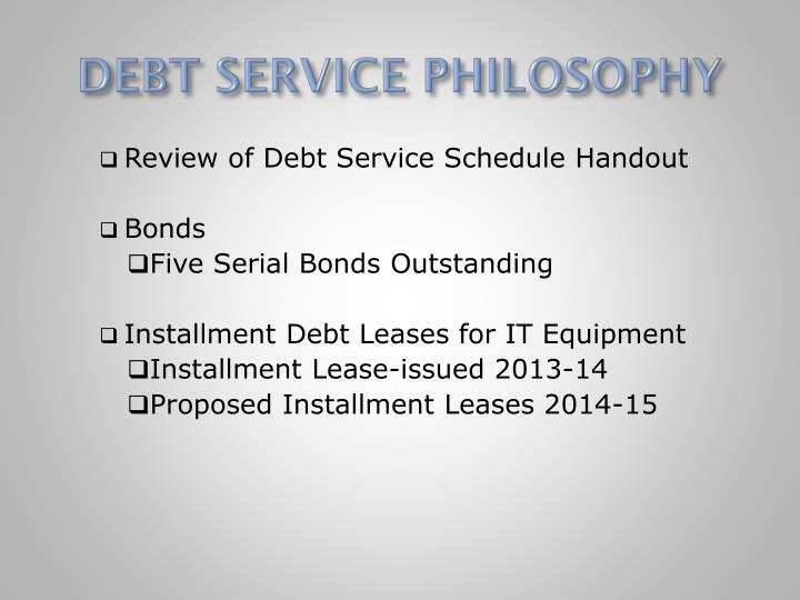 DEBT SERVICE PHILOSOPHY