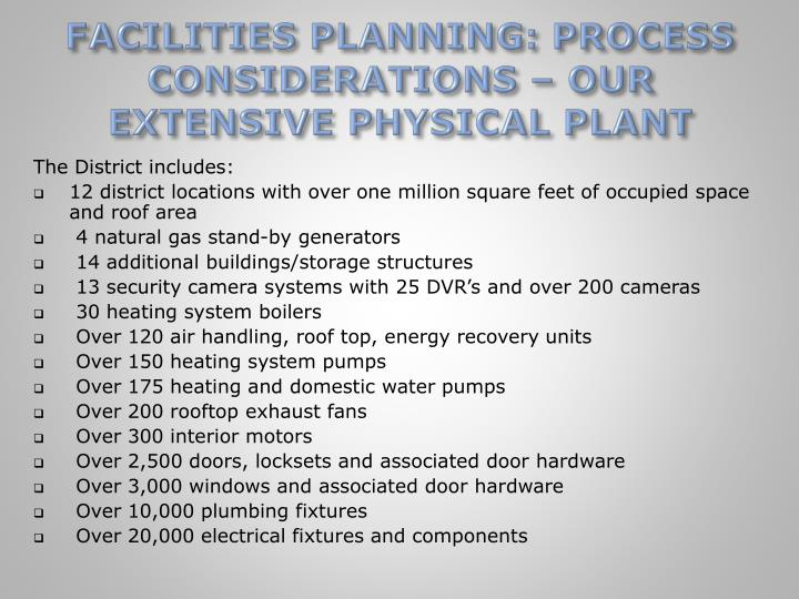 FACILITIES PLANNING: PROCESS CONSIDERATIONS – OUR EXTENSIVE PHYSICAL PLANT
