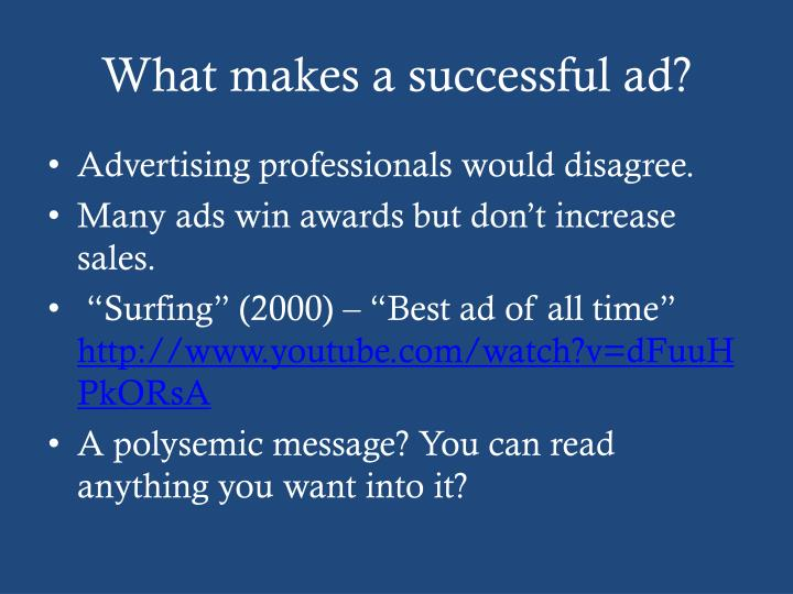 What makes a successful ad